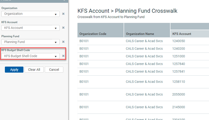 Screenshot of New Budget Shell Filter