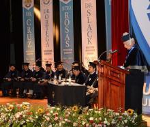 Donald Slack giving his acceptance speech at Chapingo Autonomous University in Texcoco.