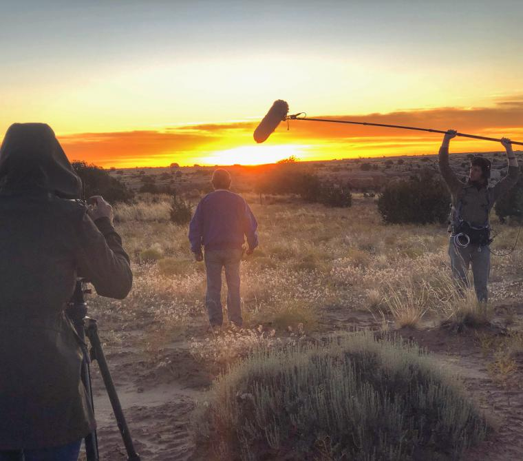 Shooting a scene in the sunset
